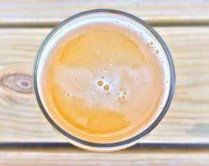 beer in a glass viewed from above
