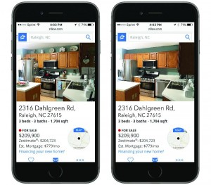 two mobile phones displaying cluttered and decluttered kitchens in a raleigh home