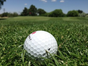 a golf ball on a grassy green golf course