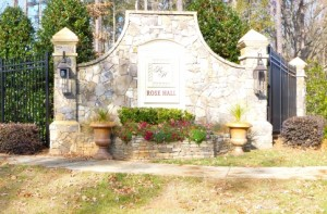 stone entrance sign to rose hill neighborhood