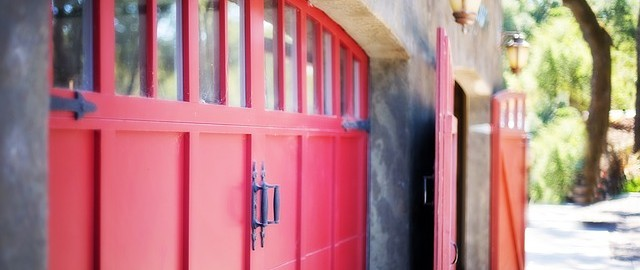 red garage door in a home