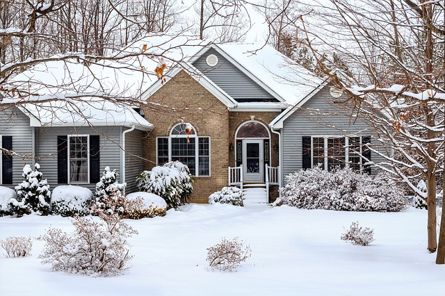suburban home in winter