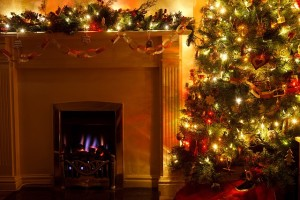 hearth and christmas tree