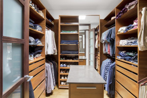 closet with organized clothes
