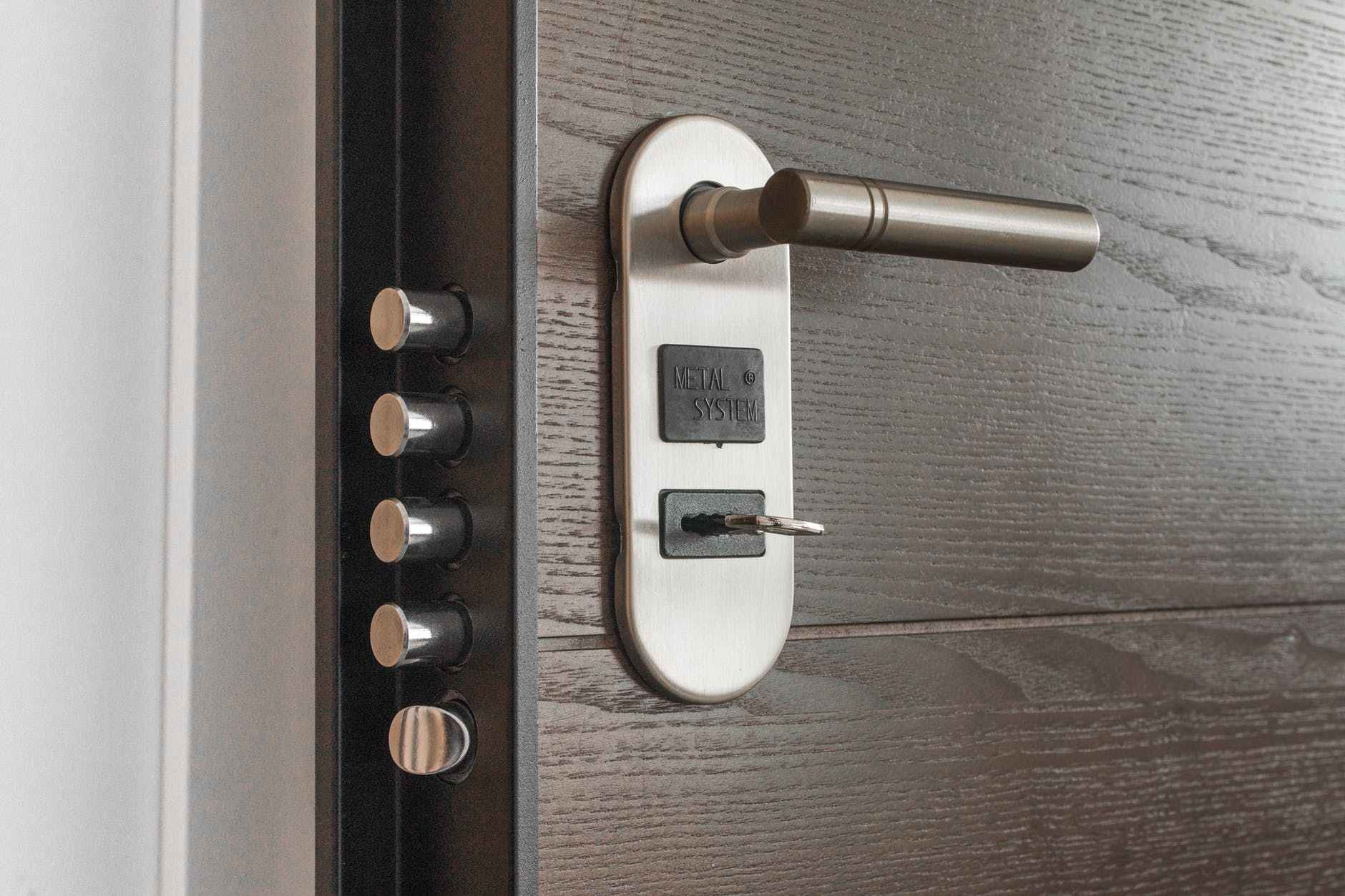 A home with a metal security system.