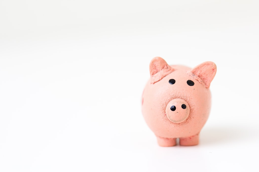 A piggy bank standing against a white background.