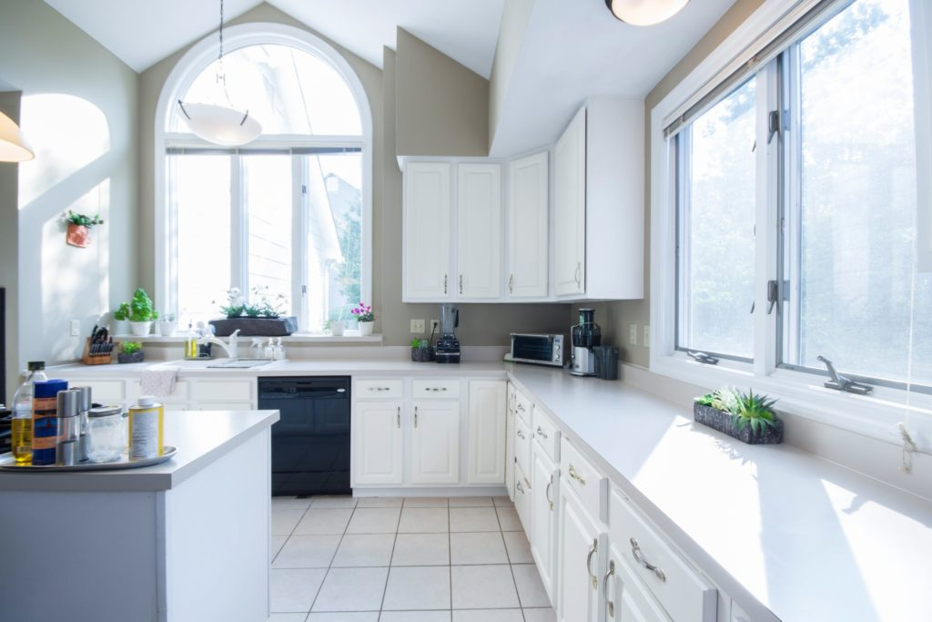 A staged kitchen in a home for sale.