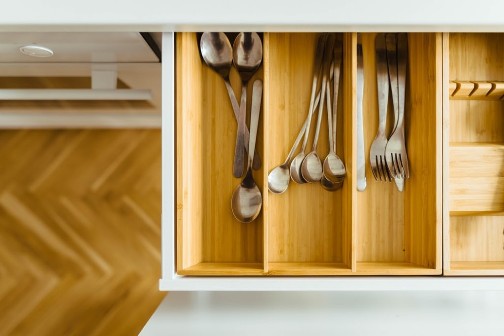 An organized kitchen drawer.