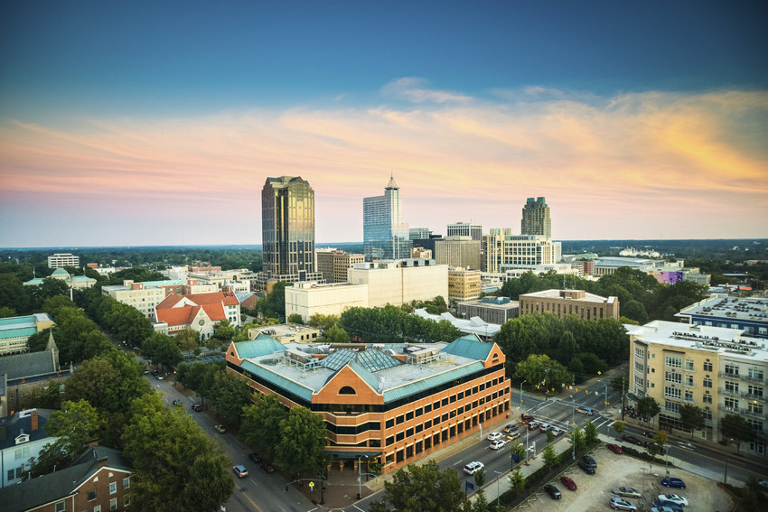 an aerial shot of raleigh