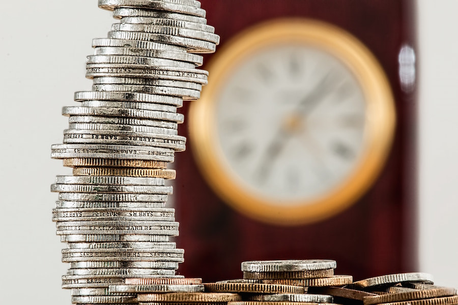 Coin stack with clock