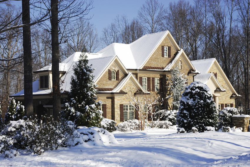 a large home covered in snow