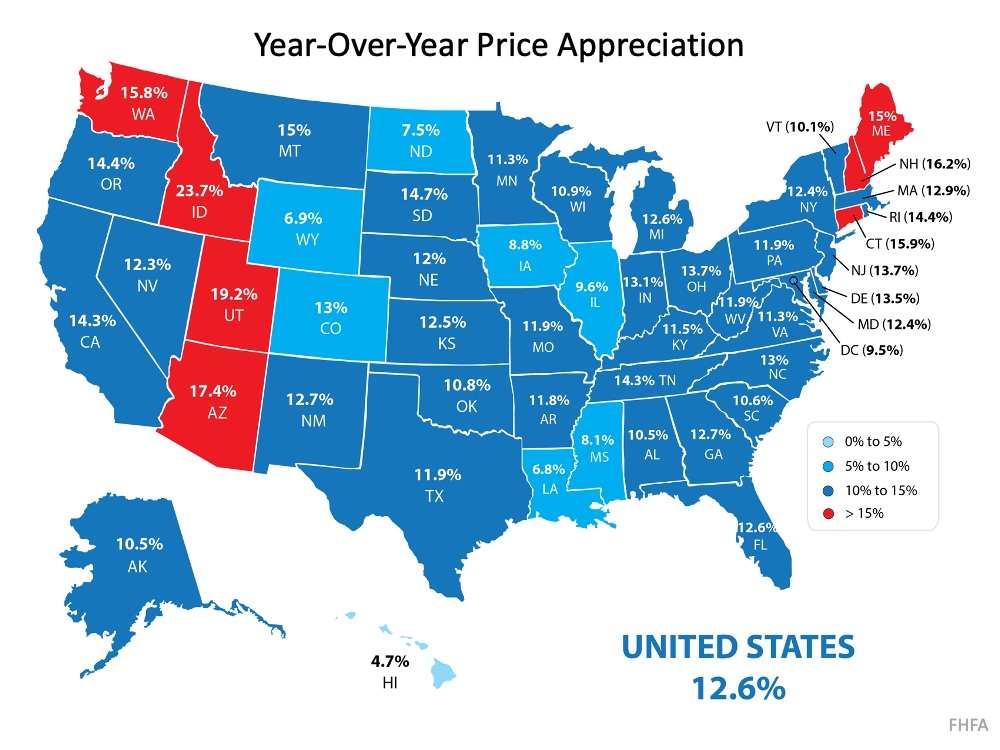 Year-over-year appreciation of home prices