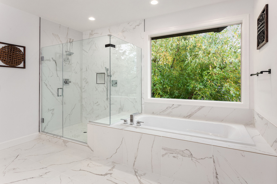 renovated white bathroom